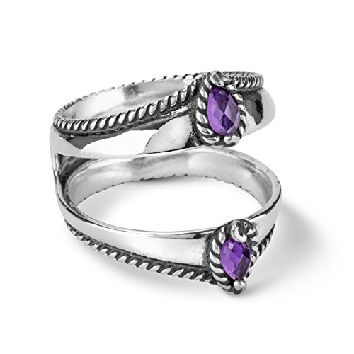 Carolyn Pollack Sterling Silver Purple Amethyst Gemstone Guard Ring Size 10