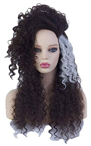 Womens Long Black Mix White Curly Wavy Wig Halloween Costume Synthetic with Fluffy Wig for $<!--$21.99-->