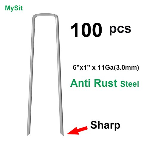 100x 6-Inch Galvanized Ground Garden Staples Stakes Pins, Lawn Landscape Weed Fabric Staple, Heavy-Duty 11 Gauge Anti-Rust Steel Sod Anchor Securing (Cheap Tomato Cages)