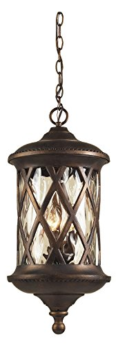 Barrington Gate 3 Light Outdoor Pendant In Hazlenut Bronze And Designer Water Glass by ELK Lighting