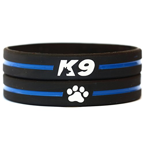 SayitBands 2 of K9 Thin Blue Line Wristband Bracelets with Paw Print