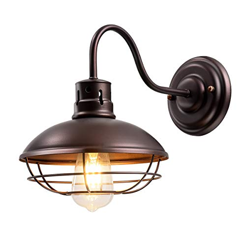CHICLUX Industrial Vintage Metal Cage Wall Sconces Oil Rubbed Bronze Porch Wall Light Lamp for Hallway Kitchen Garage Porch Bathroom