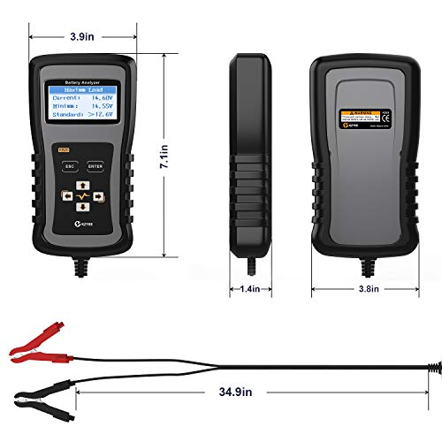 Kzyee KS20 Car Battery Load Tester 100-1700 CCA Automotive Battery Analyzer, Cranking and Charging System Diagnostic Tool for 12/24V Cars, Heavy Duty Trucks and More by Kzyee (Image #5)