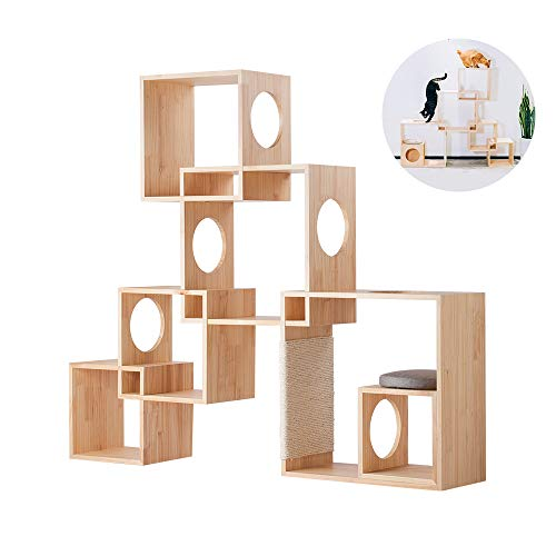 pidan Cat Activity Tree Cat Play Tower with Scratching Post Geometric Mortise and Tenon Joints Design Pinewood Furniture…
