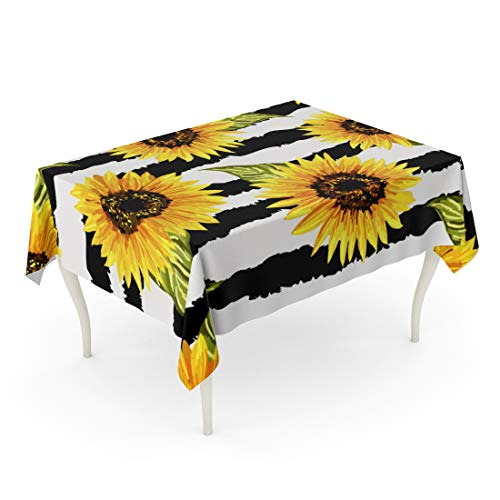 Semtomn 52 x 70 Inch Decorative Rectangle Tablecloth Colorful Beautiful Sunflowers on Abstract Collection Floral Vintage Waterproof Oil-Proof Printed Table Cloth