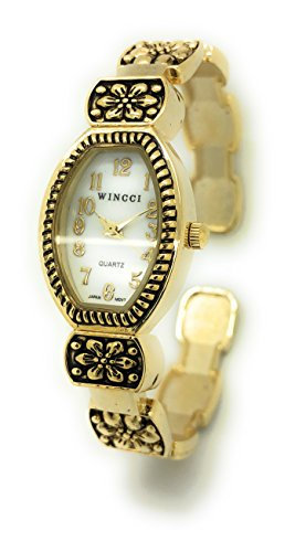 Ladies Stylish Floral Design Metal Bangle Cuff Fashion Watch Wincci (gold) - Floral Design Bangle
