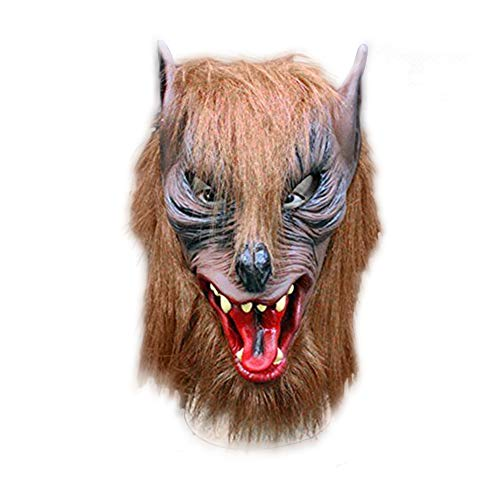 Luckstar Wolf Mask - Latex Animal Wolf Head with Hair Mask Fancy Dress Wolf Head Mask for Halloween/Cosplay/Costume/Party/Christmas Brown]()