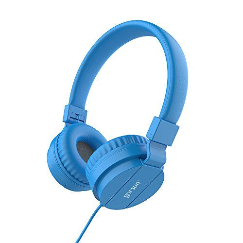 Gorsun Lightweight Stereo Folding Wired Headphones for Kids Adults Adjustable Headband Headset for Cellphones Smartphones iPhone Laptop Computer Mp3/4 Earphones(Blue)