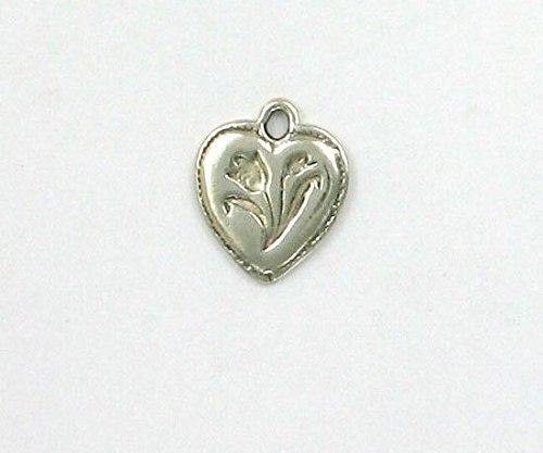 Sterling Silver Tulip Heart Charm Jewelry Making Supply, Pendant, Charms, Bracelet, DIY Crafting by Wholesale ()