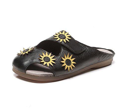 Flores Zapatillas Flip Cómoda Estilo étnico Suave Cool de Plano Mujer para Talón Estilo Negro Verano de Suela Sandalias Flops Cuero xOAawvn