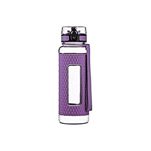 Swig Savvy Sports Water Bottle - with Silicone Sleeve. Fruit Infuser Water Bottle Filter and Leak Free Flip Top, EZ Open with One Click,Tritan Co-Polyester Plastic, 32oz - 25oz - 16oz (Purple, 16 oz)