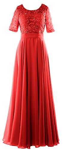 MACloth Elegant Half Sleeve Long Mother of Bride Dress Lace Formal Evening Gown Rojo