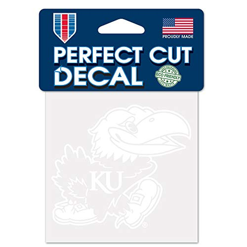 Jayhawk Decal - WinCraft NCAA Kansas Jayhawks 4x4 Perfect Cut White Decal, One Size, Team Color