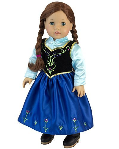 Sophia's 18 Inch Doll Nordic Princess Dress fit for American Girl with Aqua Satin Blouse