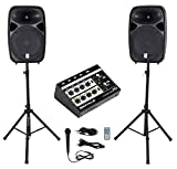 Rockville RPG152K Dual 15' Powered Speakers, Bluetooth+Mic+Stands+Cables+Mixer