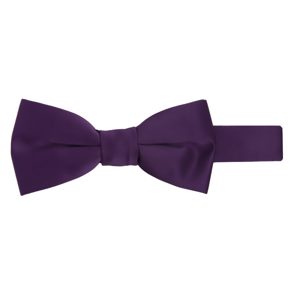 Jacob Alexander Boy's Kids Pretied Banded Adjustable Solid Color Bowtie - Eggplant