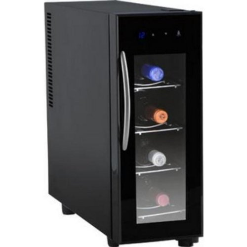 Orbegozo VT-400 Vinoteca de 4 Botellas con Display Digital, Metal, Negro
