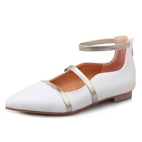 FANIMILA Mujer Moda Dedo Del Pie Cerrado Tacon de vaquero Zapatos Stylish Cremallera Zapatos for Chicas Blanco