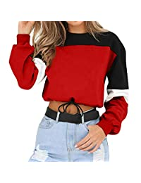 ASTV Womens Splcing Color Sweatshirt Crop Pullover Tops Blouse