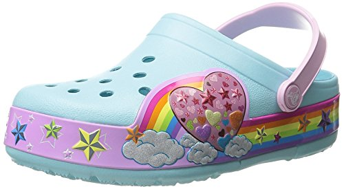 Crocs Kids' CrocsLights Rainbow Heart Light-Up Clog (Infant/Toddler/Little Kid/Big Kid), Ice Blue, 9 M US Toddler by Crocs