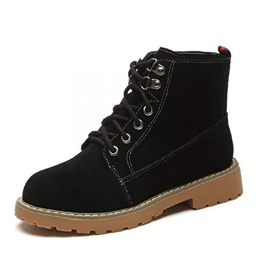 GUNAINDMX Botas de Mujer de Moda Martin Boots Botas de Mujer de época clásica Zapatos de Mujer de tacón Cuadrado con Cordones Botines Negros Black