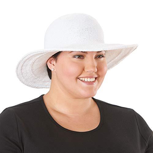 San Diego Hat Women's Cotton Crochet 4 Inch Brim Floppy Hat White, One Size