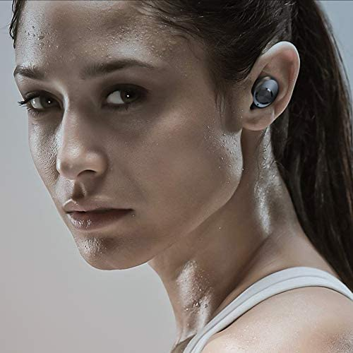 Wireless Bluetooth Earbuds with Mic, WSHDZ T7 Touch Control Waterproof Immersive Bass Stereo Noise Cancelling Headphones, Portable Charging Case with LED Display, Headset for Sports, Home, Work Black