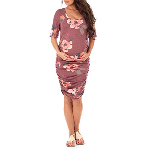 Women's Ruched Maternity Dress by Mother Bee - Made in USA (Large, Floral Heather ()