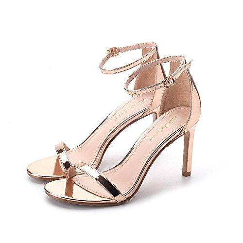 ZHANGYUSEN 2018 Verano Nuevo uno con Zapatos High-Heeled, Delgado Toe Toe Sandals, Oro y Plata y Zapatos de Tacón Alto,34,6cm de Oveja roja 8cm de plata