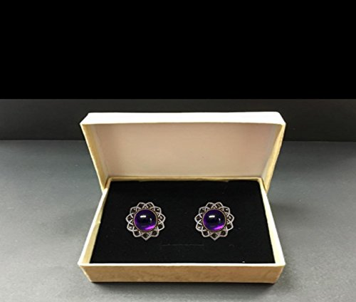 Men's cufflinks Handmade Antique Style Sterling Silver Set With Rare AMETHYST by Dr. Gavrielov