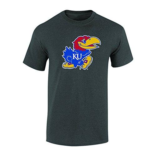 Elite Fan Shop NCAA Men's Kansas Jayhawks T Shirt Charcoal Icon Kansas Jayhawks Charcoal Medium