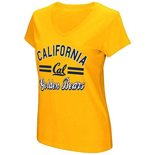 Women's Cal Golden Bears Junior Sized Gold Hurdle V Neck T Shirt (X-Large)