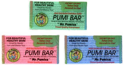 Toughskin Mini - Mr. Pumice Callus Remover Pumi Bar: Pedicure Stone & Foot Scrubber - Medium Grit (4 Pack, Assorted Colors)