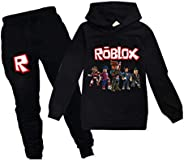 BackStri Boy Girl Hoodies Game Cartoon Long Sleeve Hooded Clothes Set for Kids