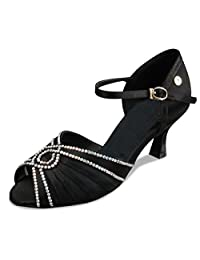 Minitoo TH006 Women's Mary Jane Style Satin Latin Salsa Ballroom Dance Shoes