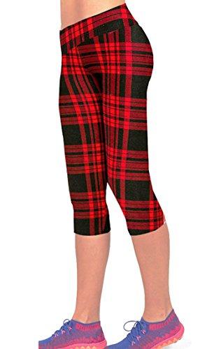 Women's Printed Active Workout Capri Pants Yoga Leggings Tights(S,Plaid)