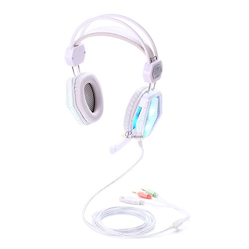 Picozon 3.5mm Comfortable Over-Head Gaming Headset, with Microphone and LED Lighting, Stereo Surround Sound for PS4, XBox, Computer, Laptop, iPad, Surface, Smartphone - White