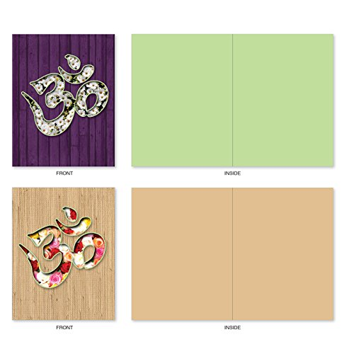 M3971 Om Blooms: 10 Assorted Blank All-Occasion Note Cards Feature a Universal Symbol for Peace and Serenity, w/White Envelopes. Photo #4