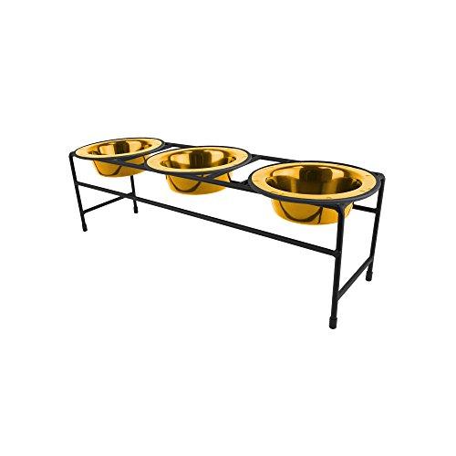 Platinum Pets Triple Diner Feeder with Stainless Steel Cat/Dog Bowls, 1.25 cup/10 oz, 24 Karat Gold