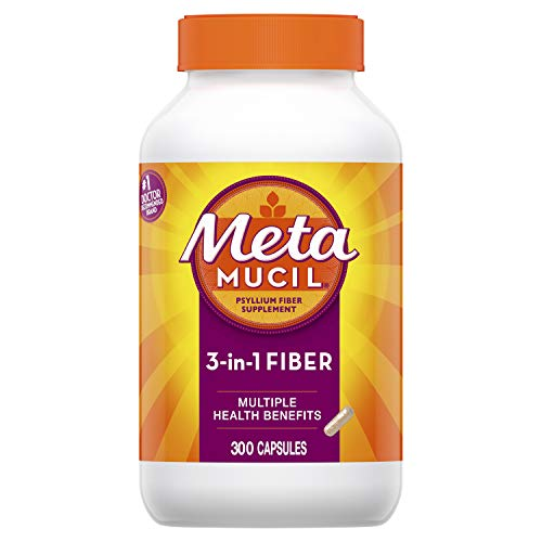 Metamucil Fiber, 3-in-1 Psyllium Capsule Fiber Supplement, 300 ct Capsules (Packaging May ()