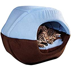 invincible besstore Cute Fashion Winter Cat Dog Bed House Foldable Soft Warm Animal Puppy Cave Sleeping Mat Pad Kennel,Blue,M
