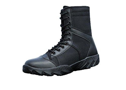 WZG cargadores de los hombres de las fuerzas especiales militares tácticos ventiladores verano al aire libre llevan botas transpirables de alta superior zapatos de cordones botas de combate Black