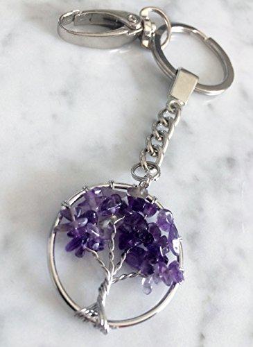 Tree of Life Amethyst Beaded Keychain Charm, Handbag Charms with Clasp