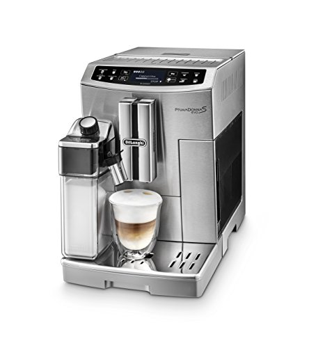 DeLonghi PrimaDonna S Evo Super Automatic Espresso Machine with Thermal Milk Carafe, Mobile App and LatteCremma System, Stainless Steel, ECAM51055