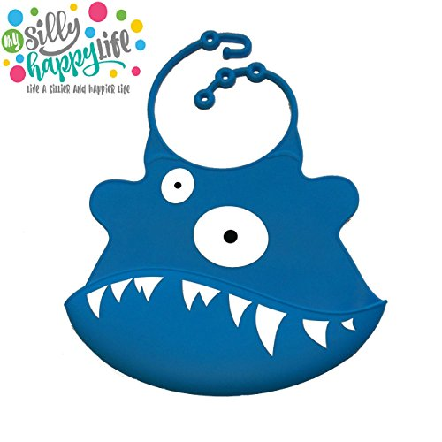 Silly Happy Life Soft Silicone Reusable Eco-friendly Baby Monster Bib with Crumb Catcher