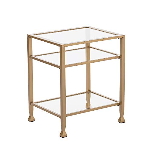 (Gold Glass Office Table - 2 Tier Design - Iron Metal & Glass Construction (Side Table))