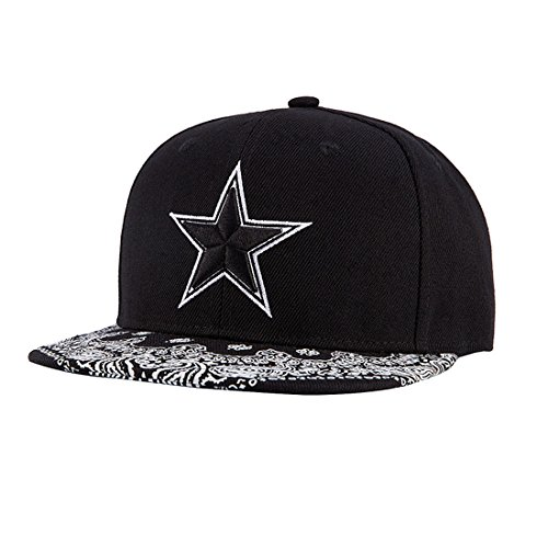 (King Star Men Solid Flat Bill Hip Hop Snapback Baseball Cap Star-Black)