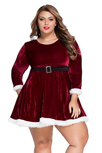 Lalagen Women's Plus Size Long Sleeve Hooded Christmas Dress Santa Claus Costume Red XXL (Long Sleeve Plus Size Costume)