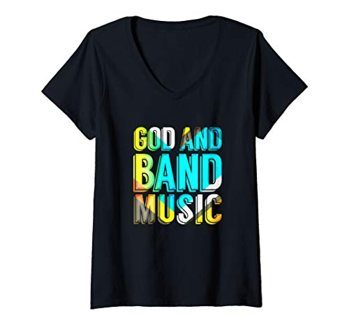 Womens God and Band Music Christian Musician Colorful Music Novelty V-Neck T-Shirt (Sunday School Lessons On Praise And Worship)