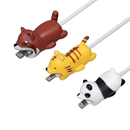 - Seala Animal Bite Cable Protector, Cute Animal Cable Bites Cable Buddies Cell Phone Charger Accessory Charging Cord Saver Compatible with iPhone X/8/7/iPad and More(Panda/Red Panda/Tiger)